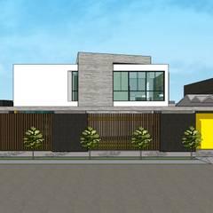 Fachada lateral + Frente: Casas unifamiliares de estilo  por MARATEA Estudio