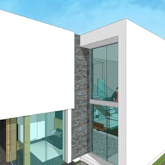 Fachada lateral: Casas unifamiliares de estilo  por MARATEA Estudio
