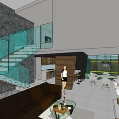 Sala a doble altura. Espacio abierto: Escaleras de estilo  por MARATEA Estudio