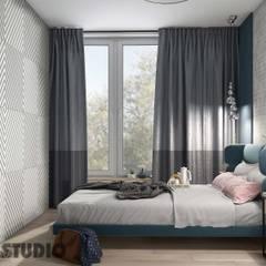 sypialnia-geometryczny motyw na ścianie: styl , w kategorii Sypialnia zaprojektowany przez MIKOŁAJSKAstudio