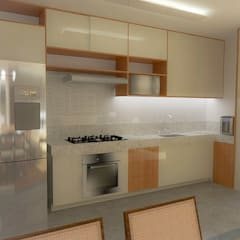 Apartamento residencial: Armários e bancadas de cozinha  por Daniela Ponsoni Arquitetura