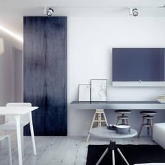 Projekt pokoju dziennego w mieszkaniu : styl , w kategorii Pokój multimedialny zaprojektowany przez Archi group Adam Kuropatwa