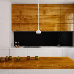 Projekt salonu z aneksem kuchennym: styl , w kategorii Aneks kuchenny zaprojektowany przez Archi group Adam Kuropatwa