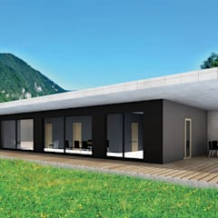 Casaplaner - Das Modulhaus von RMB ist ein modernes Architektenhaus, bei dem höchste Ansprüche in der Ausführung im Mittelpunkt stehen.:  Holzhaus von Casaplaner Modulhaus Schweiz