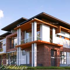 บ้านพักอาศัย 2ชั้น คุณ วีรยุทธฯ อ.แก่งกระจาน จ.เพชรบุรี:  กำแพง โดย fewdavid3d-design, โมเดิร์น