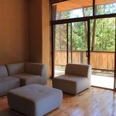 Casa de Fardos: Livings de estilo  por Kimche Arquitectos , Rústico Madera Acabado en madera