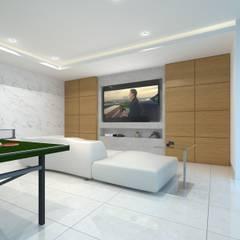 CUARTO DE JUEGOS: Salas multimedia de estilo minimalista por SEZIONE