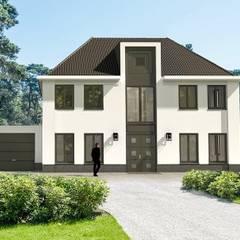 Herenhuis entree witte gevels wit gestuukt :  Villa door Brand BBA I BBA Architecten