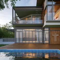 บ้านพักอาศัย2ชั้น อ.เมืองสกลนคร จ.สกลนคร :  บ้านและที่อยู่อาศัย โดย fewdavid3d-design, โมเดิร์น