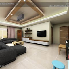 3-Bedroom Interior Design:  Living room by Garra + Punzal Architects