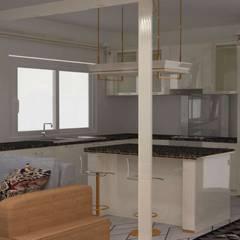غرفة معيشة:  مطبخ ذو قطع مدمجة تنفيذ Batool