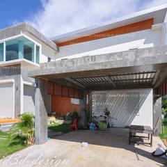 บ้านพักอาศัย2ชั้น modern loft จ.ฉะเชิงเทรา คุณชิตณรงค์ฯ:  โรงรถและหลังคากันแดด by fewdavid3d-design