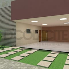 Projeto de Residência evidenciando garagem: Garagens duplas  por D'Colacite - Arquitetura e Interiores