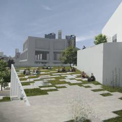 Plaza en cubierta verde: Jardines de invierno de estilo moderno por Bustos + Quintero arquitectos