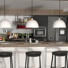 Contemporâneo e industrial, por que não?: Cozinhas embutidas  por Karoline Martins - Arquitetura & Interiores