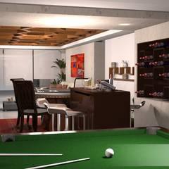 Billar, bar y sala de TV.: Salas multimedia de estilo ecléctico por gciEntorno