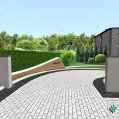 Projekt wjazdu na osiedle: styl minimalistyczne, w kategorii Domy zaprojektowany przez Design We Are 3D