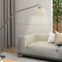 Diseño de Sala para Lanzamiento de Nueva Linea de Muebles de Ferrara: Salas / recibidores de estilo  por Gabriela Afonso, Moderno