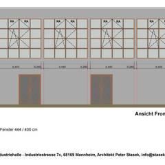 Industriehalle im Bauhausstil:  Geschäftsräume & Stores von Peter Stasek Architects - Corporate Architecture