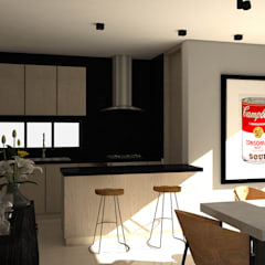 Diseño interior Apartamento con estilo industrial: Cocinas de estilo industrial por ecoexteriores