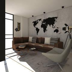 Diseño interior Apartamento con estilo industrial: Salas multimedia de estilo  por ecoexteriores