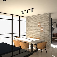 Diseño interior Apartamento con estilo industrial: Comedores de estilo  por ecoexteriores