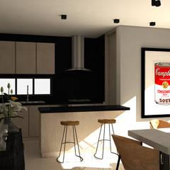 Diseño interior apartamento estilo industrial: Cocinas de estilo industrial por Savignano Design