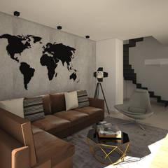 Diseño interior apartamento estilo industrial: Salas multimedia de estilo  por Savignano Design