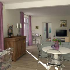 La pièce à vivre vue de la cuisine: Salle à manger de style  par MJ Intérieurs