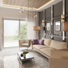 Private Apartment:  Living room by H9 Design