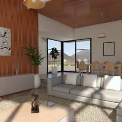 Vivienda Las Animas: Livings de estilo  por Uno Arquitectura, Rural Compuestos de madera y plástico