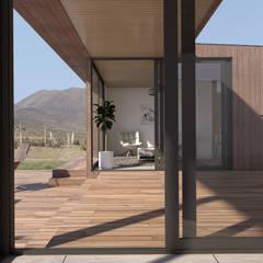 Vivienda Los Choros: Pasillos y hall de entrada de estilo  por Uno Arquitectura