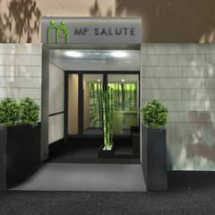Render dell'ingresso con verde e bambù, visto dall'esterno: Ingresso & Corridoio in stile  di VITAE DESIGN studio di architettura