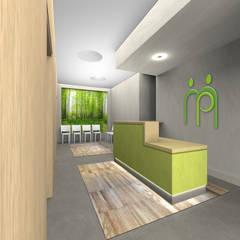 """Render della sala d'attesa  con reception, """"scatole"""" in legno e """"finestra sul verde"""": Ingresso & Corridoio in stile  di VITAE DESIGN studio di architettura"""