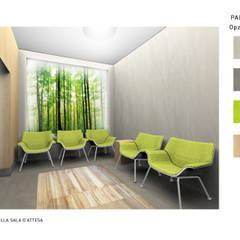 """Render della sala d'attesa, con visuale verso la """"finestra verde"""", e studio della palette di colori utilizzata in tutta la struttura: Ingresso & Corridoio in stile  di VITAE DESIGN studio di architettura"""