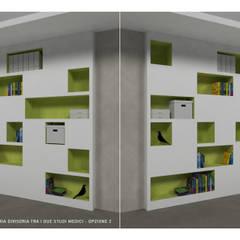 """Render (faccia A/faccia B) della parete diagonale """"scavata"""", di divisione tra le due stanze di visita più piccole.: Studio in stile  di VITAE DESIGN STUDIO"""