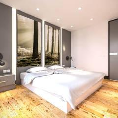 Kolon Mimarlık - İçmimarlık – Kemerburgaz LIVERA Suites - Örnek Daire Tasarımı: iskandinav tarz tarz Yatak Odası