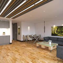Kolon Mimarlık - İçmimarlık – Kemerburgaz LIVERA Suites - Örnek Daire Tasarımı: iskandinav tarz tarz Oturma Odası