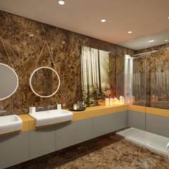 Kolon Mimarlık - İçmimarlık – Kemerburgaz LIVERA Suites - Örnek Daire Tasarımı:  tarz Banyo
