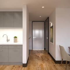 Kolon Mimarlık - İçmimarlık – Kemerburgaz LIVERA Suites - Örnek Daire Tasarımı:  tarz Koridor ve Hol