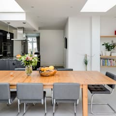 Large Rear Extension, Semi-detached House, Woodford Green, North-East London:  Dining room by Model Projects Ltd