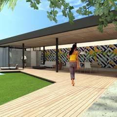 Acesso ao Pavilhão: Estábulos e galpões de jardins  por ODVO Arquitetura e Urbanismo