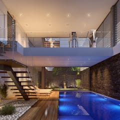 CASA SG1 - Moradia na Herdade da Aroeira - Projeto de Arquitetura Piscinas modernas por Traçado Regulador. Lda Moderno