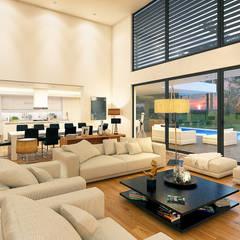 CASA PF1 - Moradia na Herdade da Aroeira - Projeto de Arquitetura: Salas de estar  por Traçado Regulador. Lda,Moderno Madeira Acabamento em madeira