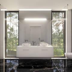 MORADIA PF1: Casas de banho  por Traçado Regulador. Lda