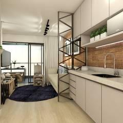 Apartamento Studio 35m²: Cozinhas embutidas  por Juliana Azanha | Arquitetura e Interiores