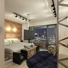 Apartamento Studio 35m²: Quartos  por Juliana Azanha | Arquitetura e Interiores,Industrial