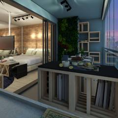 Apartamento Studio 35m²: Terraços  por Juliana Azanha | Arquitetura e Interiores