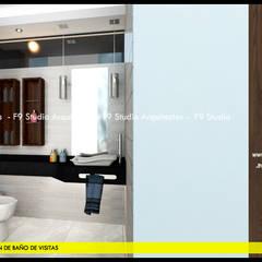 Vista de Baño de Visitas: Baños de estilo  por F9.studio Arquitectos