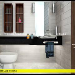 Detalle de encimera de Granito Negro: Baños de estilo  por F9 studio Arquitectos